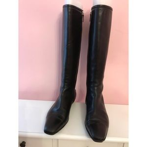 GUCCI BLACK KNEE HIGH LOGO LEATHER BOOTS SZ 11